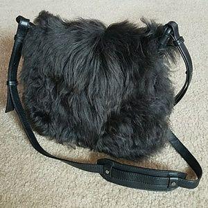 BR shearling fur genuine cow leather crossbody bag